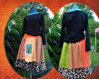 Orange velvet a line skirt and faux fur