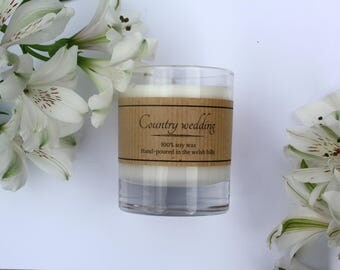 Country wedding scented soy candle