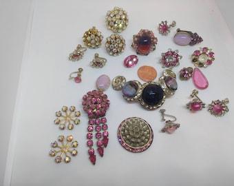 Vintage Pink Rhinestone broken jewelry lot m2