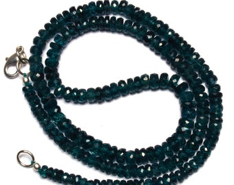 Natural Gemstone Rare Green Color Kyanite 3 to 5.5MM Faceted Rondelle Beads 19 Inch Full Strand Fine Quality Beads Complete Necklace