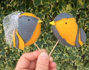Handmade Felt Lovebird Cake Toppers