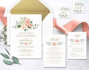 Peach Blush Floral Wedding  Invitation, Printable Wedding Invitation Template, Romantic Wedding Invitation, Editable Text, Peach Gold