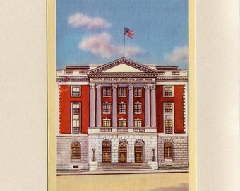 Rutland Vermont Vintage Linen Postcard United States Post Office and Court House Unused By Norcross Eldridge Company Rutland VT - 8449P