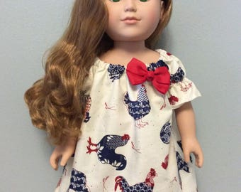 American Made Girl Baby Doll 18 Inch Doll Chicken Farm Peasant Dress