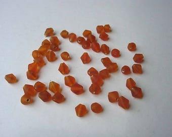 set of 50 matte glass bicone beads orange color