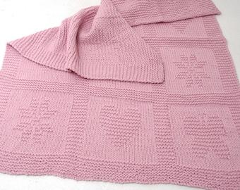 Pink Baby Blanket Knit merino wool alpaca - Reversible blanket 100% natural wool hanknit - Butterfly heart star baby blanket