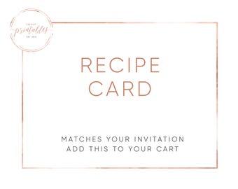 Matching Recipe Card, Recipe Card, Bridal Shower Invitation, Bridal Shower, Printable Recipe Cards, Trendy Printables, Custom Invitations