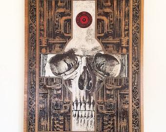 Skull Art Poster, Skull Art and Decor, Wood Painting, Cross Skull Laser Engraved, HR Giger Style, Gothic Art On Wood, Dark Art, Skull Art