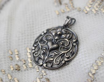 Antique Art Nouveau Jugendstil SIlver Floral Pendant with Heart