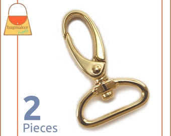 "1 Inch Swivel Snap Hooks, Gold Finish, 2 Pieces, Handbag Purse Bag Making Hardware Supplies, 1"", SNP-AA054"