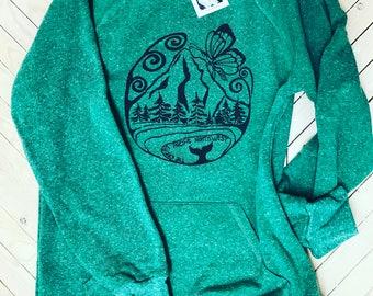 Sweatshirt for women, mountain design, PNW, slouchy shirt, slouchy sweatshirt, slouchy sweater, Pacific Northwest, ECO sweater, Butterfly