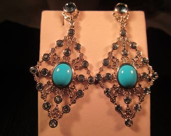 Chic Sterling Silver Turquoise Pale Blue Gemstone Earrings