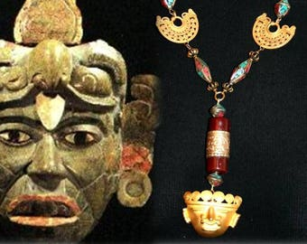 Ethnic necklace - the MAYAN mask