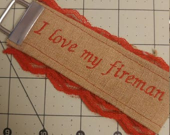 I love my fireman wristlet with lace