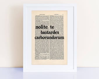 nolite te bastardes carborundorum Print on an antique page, The Handmaid's Tale Quote, Margaret Atwood, gifts ideas for her