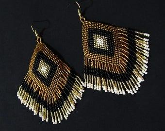 Gold Black Beaded Native Style Earrings, Huichol Ojo de Dios Earrings, Tribal Boho Earrings, Gypsy Earrings, Native American Earrings