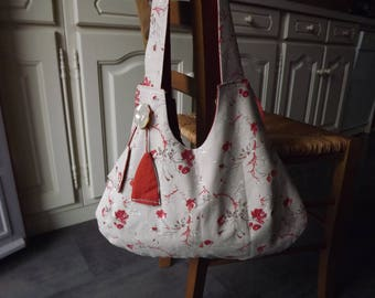 Handbag fabric reversible cotton/linen with Pocket and button