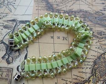 Chartreuse Miyuki Tila Bead & Czech Glass Bracelet