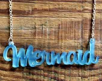 Frosted Blue Acrylic Mermaid Necklace