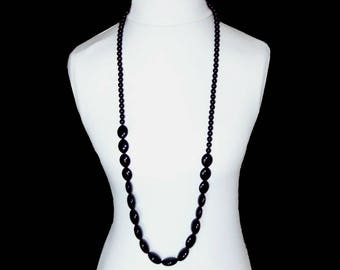 Long Black Necklace / Black Bead Strand - EXTRA LONG - SALE - Flapper Style Wrap Around - Graduated - Big Black Oval & Round Beads