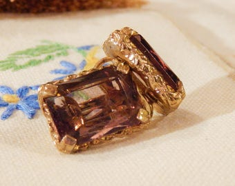 Vintage Pair SARAH COVENTRY 14KT Rolled-Gold Emerald-Cut Ametrine Clip-On Earrings
