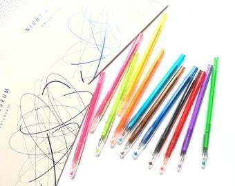 12 Colors Set // 0.5mm Diamond Gel Color Pens Set。Colorful Pens。Gel Ink Pens。Color Ink Pens。Slim Gel Pen。Fine Liner。Coloring Pen