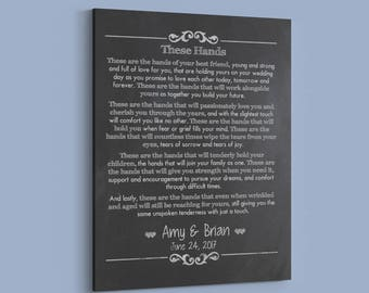 Wedding Vow Canvas - Irish Wedding Gift - These are the Hands - Celtic Handfasting Wedding Vow Keepsake - Personalized Wedding Vows Print.