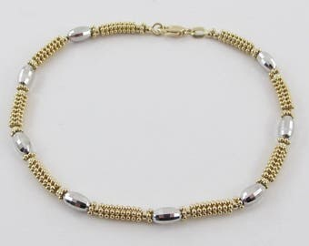 """14K Yellow And White Gold Bead Ball Style Bracelet 8"""" 7.00 grams"""