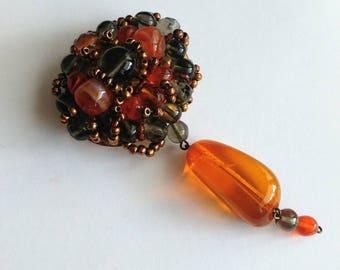 Vintage amber glass brooch