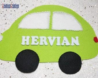 GREAT banner for boy green car.  FIRST NAME CHOICE. Hand sewn. Felt