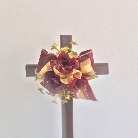 Cemetery cross decoration, roadside memorial, wooden cross,  cemetery decoration, flowers for grave.
