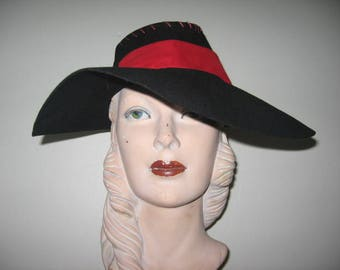 1940's Black Extreme Wide Brim Fedora with Red Trim!