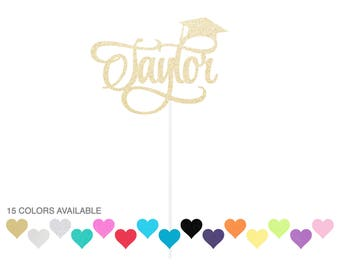 Custom Graduation Cake Topper - Name Personalized Class of 2017 2018 - Grad Decor Party Supplies Glitter