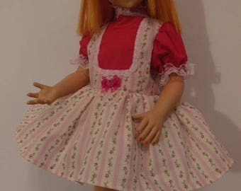 "Pink Stripe Jumper Look Dress Set for Vogue 22"" Brikette Dolls"