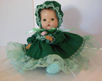 "Frilly Green Embroidered Dress Set FOR 12-13"" Ideal Betsy Wetsy and AC Tiny Tears Dolls"