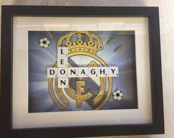 Football mad boys personalised scrabble frame