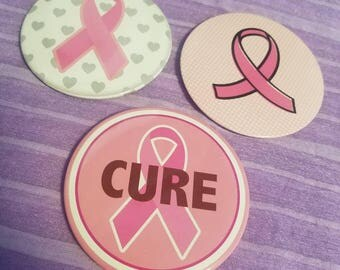 3 large pink ribbon awareness buttons breast cancer awareness