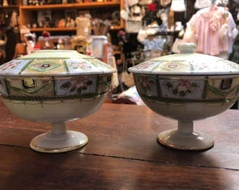 Antique JAPAN Hand Painted Powder Jar & Hair Receiver