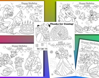 Ariel Coloring Pages Mermaid Birthday Party Activity PDF File