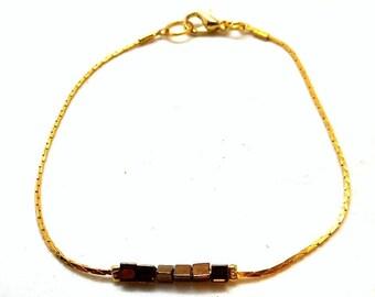Gold minimalist bracelet, bronze square beads