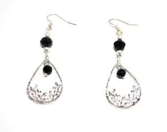 Earrings drop silver beads