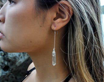 Crystal quartz dangle earrings
