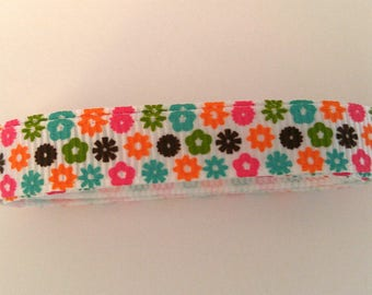White Grosgrain Ribbon with Colored Spots 1 yard