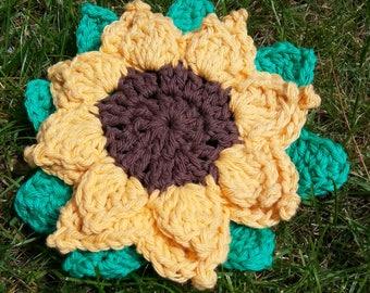 100% Cotton  Sunflower Potholder/ Hotpad