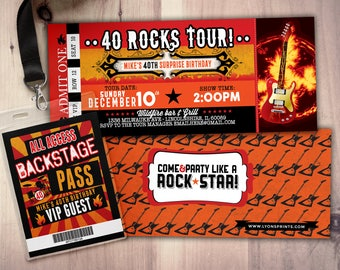 ROCK STAR concert ticket birthday party invitation- Music invitation, rockstar party, drums,40 rocks, 30th,21st,50th, 60th,75th