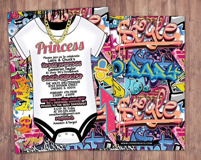 Fresh Prince, Baby Shower, Hip Hop, Swagger, 90s, backstage pass, birthday invitation, Graffiti, birthday, DJ, 90s party, 80s party, Diva