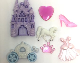 Princess Push Pins or Magnets Your Choice Castle, Gown, Crown, Slipper, Coach, Heart