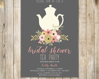 Peach Gray Gold BRIDAL SHOWER TEA Party Invitation, Floral Bridal Tea Invites, Bridal Shower Invite, Couples Shower, Wedding Luncheon Brunch