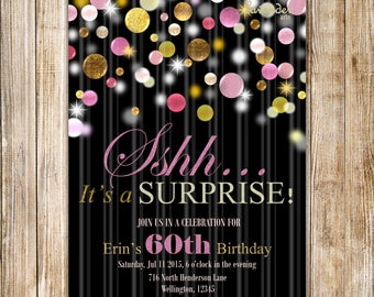 Surprise 60th Birthday Invitation, Sshh It's A Surprise Invite, Woman 60th Birthday Party, Pink and Gold Glitters, Surprise 50th Birthday