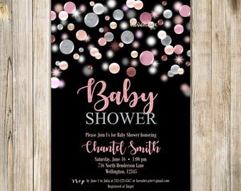 CONFETTI BABY SHOWER Invitation, Pink and Silver Baby Shower Invite, Baby Girl Shower Invite, Pink Baby Shower, Dots, Pregnancy Announcement